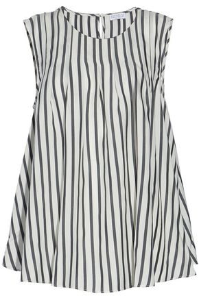 BRUNELLO CUCINELLI Pleated bead-embellished striped silk top