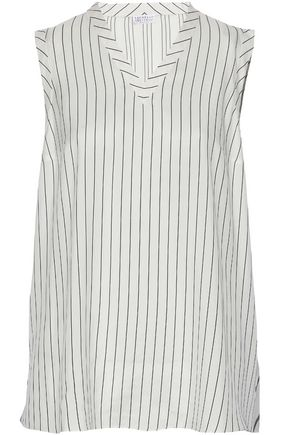 BRUNELLO CUCINELLI Ruffled organza-paneled striped silk top