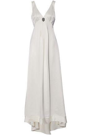 BRUNELLO CUCINELLI Bead-embellished silk-blend satin gown