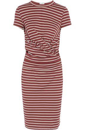 BRUNELLO CUCINELLI Gathered striped cotton-jersey dress