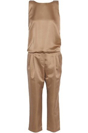 BRUNELLO CUCINELLI Bead-embellished draped silk-blend satin jumpsuit