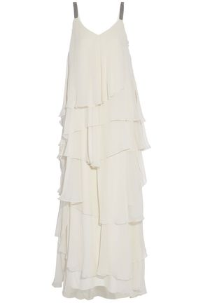 BRUNELLO CUCINELLI Ruffled silk-chiffon gown