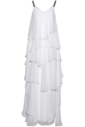 BRUNELLO CUCINELLI Bead-embellished tiered silk-chiffon gown