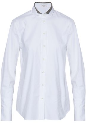BRUNELLO CUCINELLI Bead-embellished cotton-blend poplin shirt