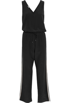 BRUNELLO CUCINELLI Bead-embellished striped silk-crepe jumpsuit