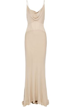 HAUTE HIPPIE Paneled silk crepe de chine gown