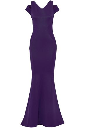 ZAC POSEN Cold-shoulder fluted knitted gown