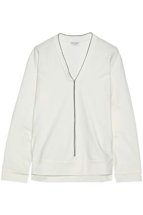 BRUNELLO CUCINELLI Bead-embellished stretch-cotton top