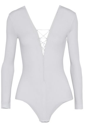 T by ALEXANDER WANG Lace-up stretch-modal jersey bodysuit