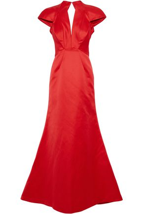 ZAC POSEN Open-back satin gown
