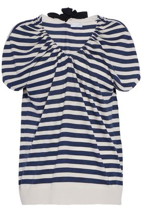 BRUNELLO CUCINELLI Striped wool and cashmere-blend top