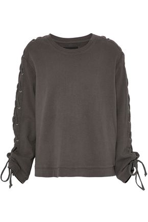 RTA Lace up-detailed French cotton-terry sweatshirt