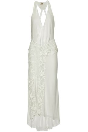 HAUTE HIPPIE Wrap-effect lace-paneled cutout voile gown