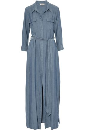 L'AGENCE Belted chambray maxi shirt dress