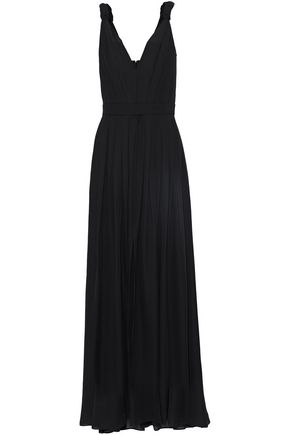 L'AGENCE Woven-trimmed pleated chiffon gown
