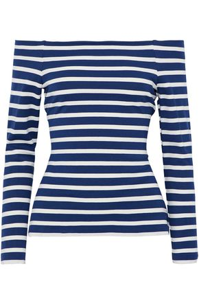 L'AGENCE Off-the-shoulder striped jersey top