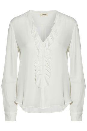 L'AGENCE Frayed ruffle-trimmed silk-chiffon blouse
