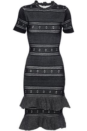 RAOUL Tiered ruffled metallic cotton-blend dress