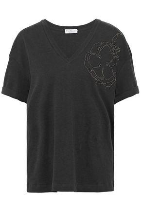 BRUNELLO CUCINELLI Embellished pleated cotton-blend poplin shirt