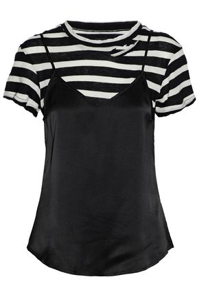 RTA Layered striped cotton and cashmere-blend and silk-satin top