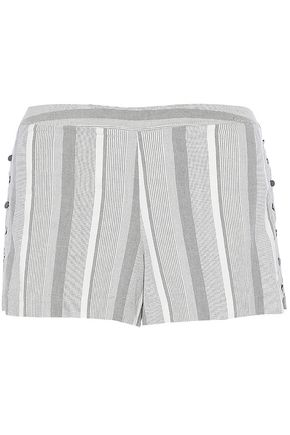 HAUTE HIPPIE Button-detailed striped cotton-blend shorts