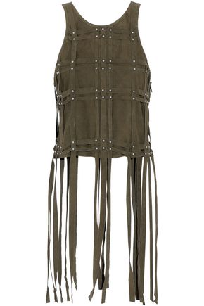 HAUTE HIPPIE Fringed studded cutout faux suede top