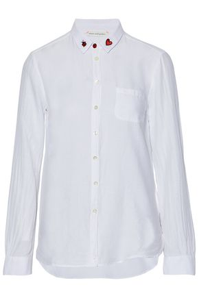 CHINTI AND PARKER Embroidered cotton and silk-blend shirt