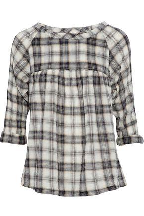 CURRENT/ELLIOTT Checked cotton-blend flannel top