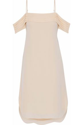 T by ALEXANDER WANG Off-the-shoulder pleated silk-crepe de chine dress