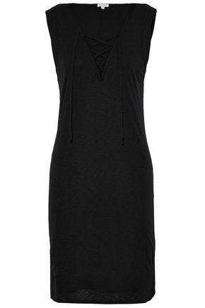 SPLENDID Lace-up slub modal and cotton-blend dress