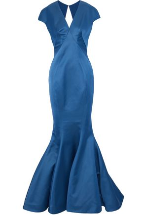 ZAC POSEN Fluted cutout satin gown