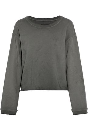 RTA Distressed cotton-terry sweatshirt