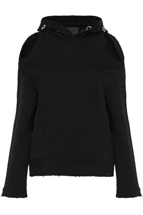 RTA Cold-shoulder eyelet-embellished cotton-terry hooded sweatshirt