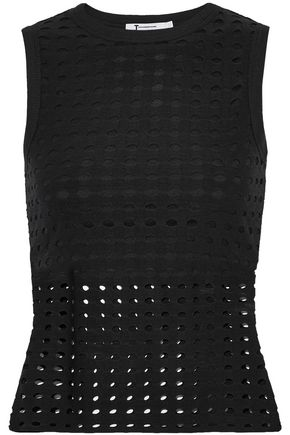 T by ALEXANDER WANG Layered laser-cut stretch-jersey top