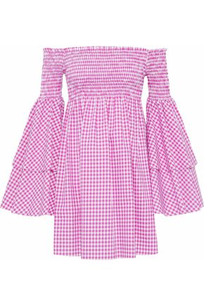 CAROLINE CONSTAS Appolonia off-the-shoulder shirred gingham cotton-poplin mini dress