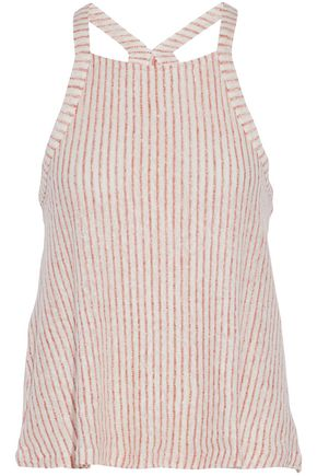 SPLENDID Striped linen and cotton-blend tank