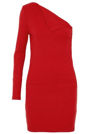 W118 by WALTER BAKER One-shoulder paneled ribbed-knit mini dress