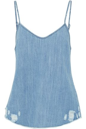 RTA Distressed cotton-chambray camisole