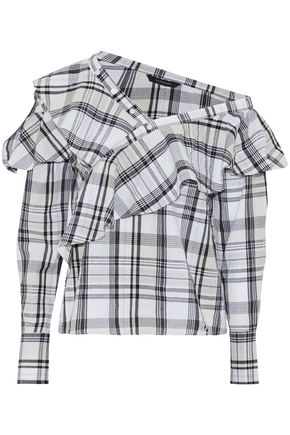W118 by WALTER BAKER One-shoulder ruffled checked cotton-poplin blouse
