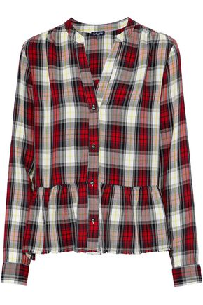 SPLENDID Checked flannel peplum shirt