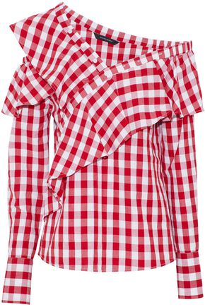 W118 by WALTER BAKER One-shoulder ruffled gingham cotton-poplin blouse