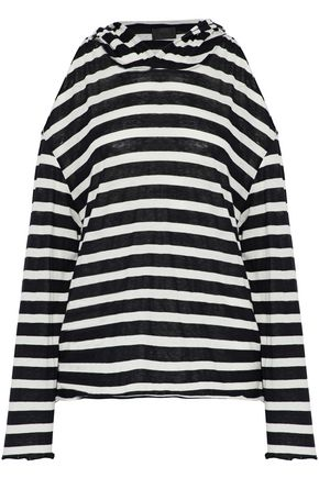 RTA Cold-shoulder striped cotton and cashmere-blend hooded top