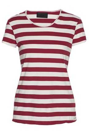 RTA Distressed striped cotton T-shirt