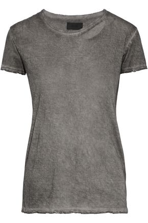 RTA Cutout distressed cotton and cashmere-blend T-shirt
