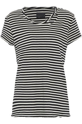 RTA Distressed striped cotton-jersey T-shirt