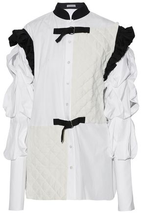 J.W.ANDERSON Quilted linen-paneled ruffled cotton-poplin shirt