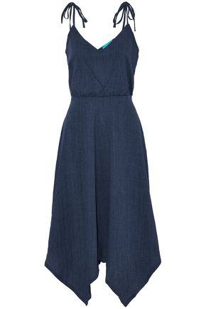 M.I.H JEANS Draped crinkled cotton and linen-blend dress