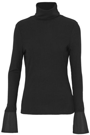 W118 by WALTER BAKER Poplin-paneled ribbed-knit turtleneck top