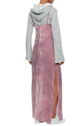 RTA Satin-trimmed velvet maxi dress