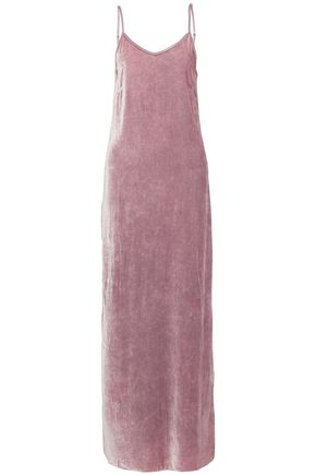 RTA Satin-trimmed velvet maxi dress